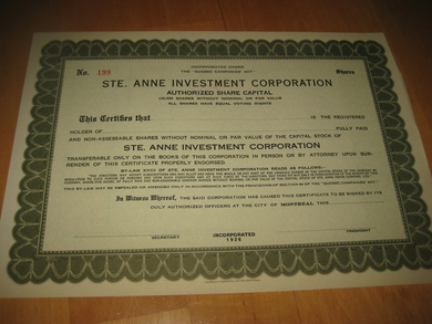 STE. ANNE INVESTMENT CORPORATION, no 199, 1926.