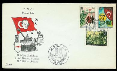 1961, 27.5,                               FDC fra Tyrkia.