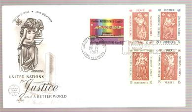 1967, 28. MAI, JUSTICE FOR A BETTER WORLD, FDC FRA UNITED NATIONS.