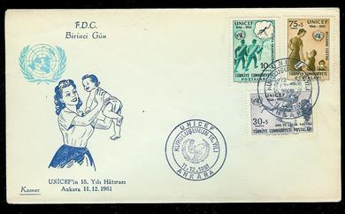 1961, 11.12,                               FDC fra Tyrkia.