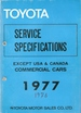 TOYOTA SERVICE SPECIFICATIONS 1977